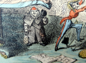 Original GEORGIAN Satirical Print by George Cruikshank (1782 - 1878). Hand-coloured etching entitled Jealousy and dated 1825