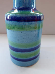 1970s Vintage Italian BALDELLI POTTERY Vase with Turquoise, Emerald Green and Royal Blue Horizontal Stripes and Tall Chimney Shaped Neck