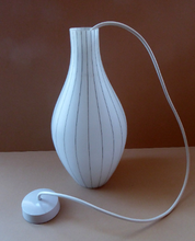 Load image into Gallery viewer, Mid-Century Design Classic. 1950s Skittle Shaped Glass Hanging Lampshade; possibly Danish. Opaque White Glass with Grey Stripes