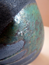 Load image into Gallery viewer, STUDIO POTTERY. Tall Vintage 1960s Vase. Matt Black Lava Glaze Turquoise Splashes: Impressed GS Mark. 11 inches