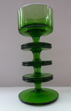 Load image into Gallery viewer, Stylish 1970s SHERINGHAM WEDGWOOD GLASS Green Candlestick by Stennett-Wilson. 6 inches high