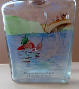 1930s NOVELTY Golfing Glass Decanter. Decorated with Hand-Painted Comical Golfing Illustration - and with Fabulous Scotsman's Head Stopper