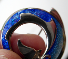 Load image into Gallery viewer, Lovely Vintage SCOTTISH Sheila Fleet Hallmarked Silver and Blue Enamel Dolphin Brooch