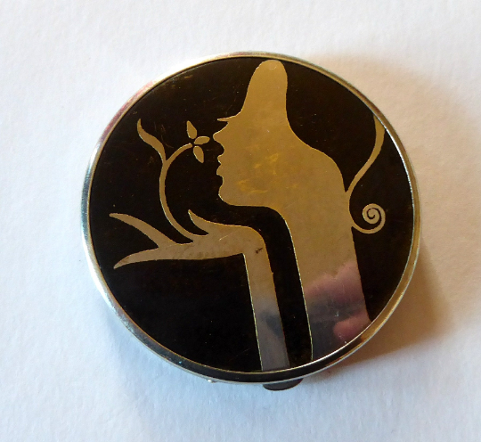 Very Rare ART DECO TOKALON Miniature Powder Compact with Original Contents. Good Condition