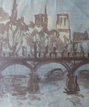 Load image into Gallery viewer, SCOTTISH ART. Sax Shaw (1916 - 2000). Watercolour of the Pont Neuf, Paris. Signed and dated 1950. Exhibited 1983