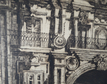 Load image into Gallery viewer, Sidney Tushingham (1884-1968). Pencil Signed Drypoint Etching.  Plaza del Corrillo, Salamanca in Spain. Framed and in excellent condition