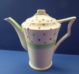 ART DECO Tams Ware Pottery Rainbow Polka Dots Complete Coffee Set. Extremely Rare