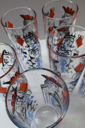 Vintage 1960s Ravenshead SIX Slim Jims Drinking Glasses. ROYALTY (Playing Cards) Design by Alexander Hardie-Williamson