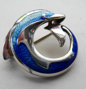 Lovely Vintage SCOTTISH Sheila Fleet Hallmarked Silver and Blue Enamel Dolphin Brooch