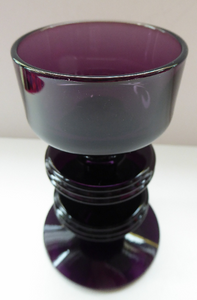 Stylish 1970s SHERINGHAM WEDGWOOD GLASS Purple Candlestick by Stennett-Wilson. 5 inches High