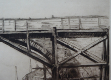 Load image into Gallery viewer, SCOTTISH ART. Sir Muirhead Bone (1876 - 1953). Repairing the Auld Brig at Ayr (No.1). Pencil signed etching. Dated 1909