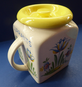 1950s BRISTOL POTTERY Kitchen Canister or Storage Jar. Vintage Old Delft Tulip Design with Carrying Handle. CURRANTS