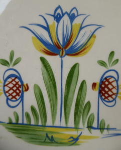 1950s BRISTOL POTTERY Kitchen Canister or Storage Jar. Vintage Old Delft Tulip Design with Carrying Handle. No Lettering