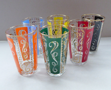 Load image into Gallery viewer, Fabulous Set of 1950s Harlequin Drinking Glasses. Six in Total in the Set