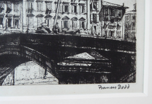 ORIGINAL ETCHING by Francis Dodd (1874 - 1949). Ponte di Mezzo, Pisa. Signed and dated 1915
