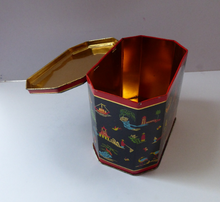 Load image into Gallery viewer, Vintage 1950s SCOTTISH Biscuit Tin for William Crawford. Stylish Mid Century Image with Stylised Chinese Motifs