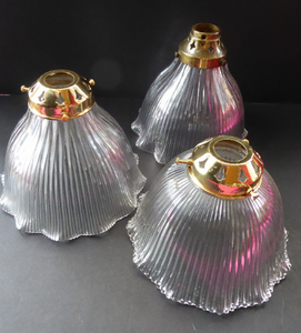 ANTIQUE Edwardian HOLOPHANE Ribbed Glass Lamp Shades