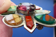 Load image into Gallery viewer, SCOTTISH SILVER: Vintage Agate Brooch with 1952 Glasgow Hallmark. Brooch set with Coloured Agates and Dark Amethyst