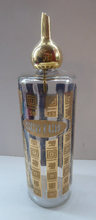 Load image into Gallery viewer, 1960s Glass SCOTCH Whisky Decanter. With Bulbous Gold Tone Pourer and Geometric Mirrored Gold Decorations