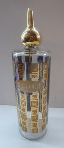 1960s Glass SCOTCH Whisky Decanter. With Bulbous Gold Tone Pourer and Geometric Mirrored Gold Decorations