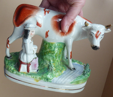 Load image into Gallery viewer, Genuine ANTIQUE STAFFORDSHIRE Figurine. Woman / Milkmaid with Large Cow by a Stream; 1880s