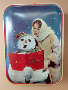 Cute Little Vintage 1960s SNOWMAN CAROL SINGING Christmas Waller & Hartley Toffee Tin