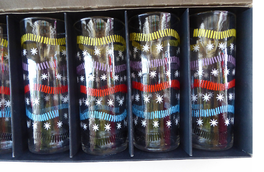 1950s SHERDLEY Six Slim Jims Drinking Glasses. Abstract Design; Probably by Alexander Hardie-Williamson