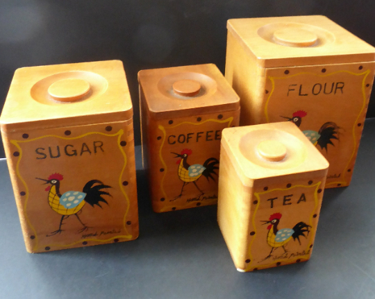 1950's INTERSTACKING Wooden Food Kitchen Storage boxes. Coffee & Tea, Sugar and Flour. Good Vintage Condition