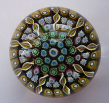 Load image into Gallery viewer, Gorgeous Colours. Scottish Glass - Strathearn Millefiori Canes and Latticino Nine Spoke Paperweight