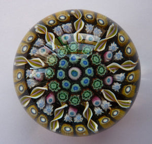 Gorgeous Colours. Scottish Glass - Strathearn Millefiori Canes and Latticino Nine Spoke Paperweight