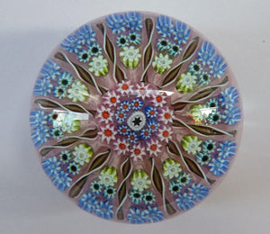 Gorgeous Colours. Scottish Glass - Strathearn / Perthshire Millefiori Canes and Latticino Twelve Spoke Paperweight
