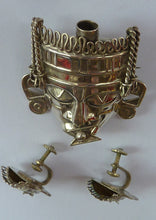 Load image into Gallery viewer, Set. Vintage MEXICAN SILVER Mayan / Aztec Brooch and Matching Screw On Earrings