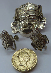 Set. Vintage MEXICAN SILVER Mayan / Aztec Brooch and Matching Screw On Earrings