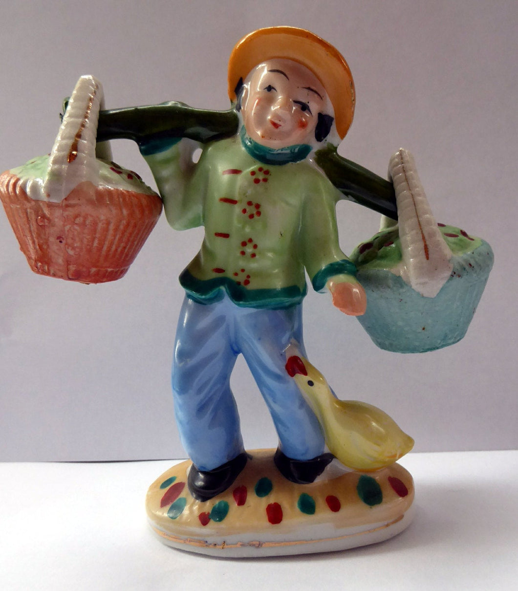 1960s Salt and Pepper Set or Cruet; Taking the Form of a Chinese Man Carrying Baskets on a Pole
