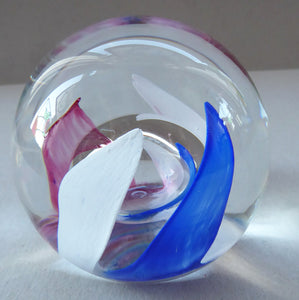 LARGE Vintage Limited Edition SCOTTISH Caithness Glass Paperweight: Fanfare by Alistair Macintosh, 1989