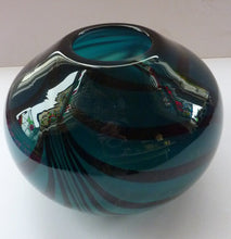 Load image into Gallery viewer, Attractive Piece of Studio Glass by Katie Brown. Kingfisher Blue Bowl with Black Feathered Pattern. Signed indistinctly to the base
