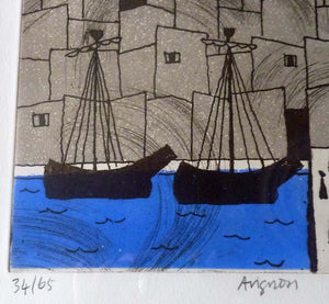 Julian Trevelyan ORIGINAL Etching & Soft Ground Aquatint. AVIGNON. Pencil Signed and Dated 1972