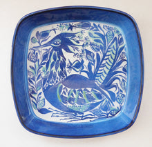 Load image into Gallery viewer, Large Vintage 1960s ROYAL COPENHAGEN Aluminia Faience TENARA Peacock Bowl by Marianne Johnson