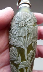 Collector's Item THOMAS WEBB Antique Glass CAMEO Perfume Bottle or Flask. Olive Green with White Floral Decoration