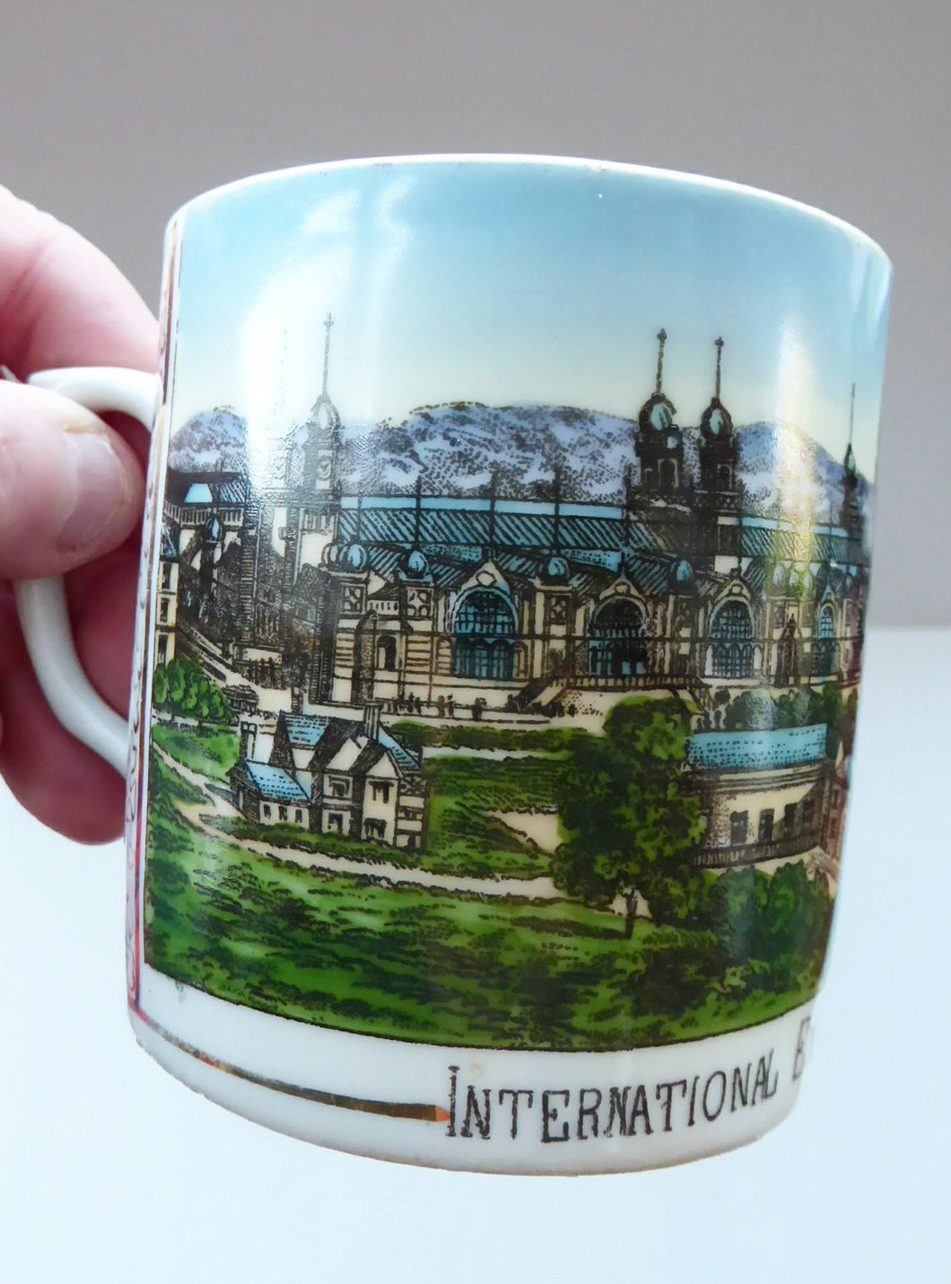 SCOTTISH HISTORY. RARE 1888 Glasgow International Exhibition Ceramic Souvenir Mug