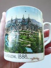 Load image into Gallery viewer, SCOTTISH HISTORY. RARE 1888 Glasgow International Exhibition Ceramic Souvenir Mug