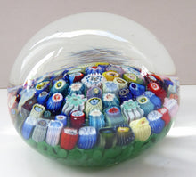 Load image into Gallery viewer, LARGE Vintage Scottish Paperweight, possibly by VASART GLASS. Aqua Green Ground with a Carpet of Millefiori