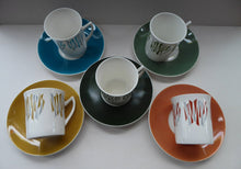 Load image into Gallery viewer, Five 1970s Harlequin Colours ELIZABETHAN KON-TIKI Vintage Cups and Saucers