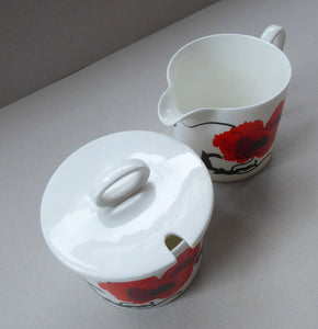 SUSIE COOPER for WEDGWOOD. 1971 Cornpoppy Design. Stylish Floral Bone China Sugar Bowl & Milk Jug