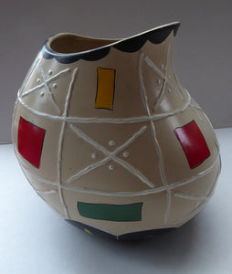 Rare BRENTLEIGH WARE 1950s Atomic Gourd Shaped Vase: SUSA Shape and Rarer Beige Colour