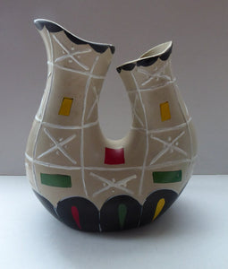 Rare BRENTLEIGH WARE 1950s Atomic Amorphic Shaped Vase: San Rema Shape and Rarer Beige Colour
