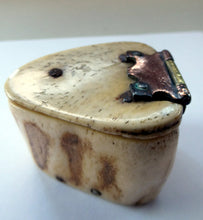 Load image into Gallery viewer, 19th Century Napoleonic French Prisoner of War Carved Ox Bone Snuff Box or Snuff Mull