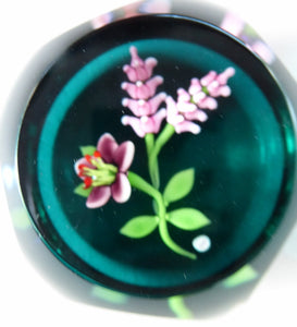 SCOTTISH Miniature Cushion Cut LIMITED EDITION Caithness Paperweight by William Manson: Woodland Flowers, 1993