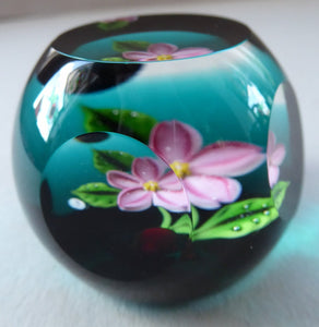 SCOTTISH Miniature Cushion Cut LIMITED EDITION Caithness Paperweight by William Manson: Cherry Blossom, 1984