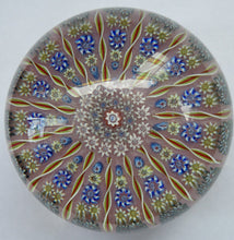 Load image into Gallery viewer, LARGE Vintage Scottish PERTHSHIRE Paperweight. Sugar Pink Ground, 15 Spokes & Millefiori Canes. P Cane in Center